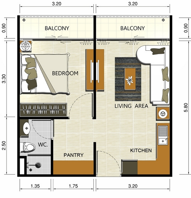 AbaTalay 1-bedroom Condominium