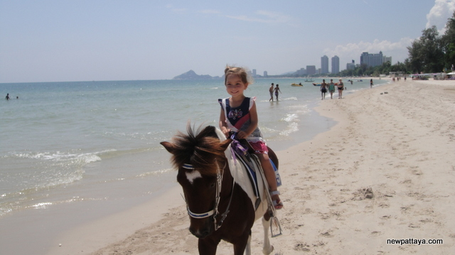 Emily riding a horse on the beach in Hua Hin - October 2012
