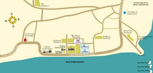 Mae Phim Beach Map