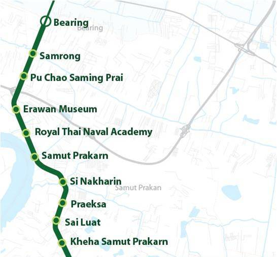 Sukhumvit Line extension from Bearing to Samut Prakan