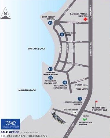 Blue Ocean Najomtien Pattaya Map