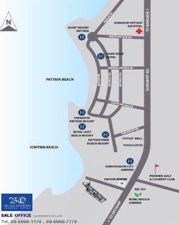 Blue Ocean Najomtien Pattaya Map