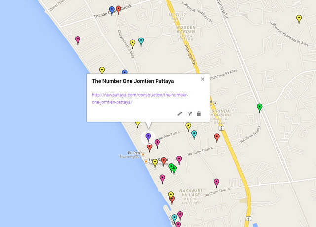 The Number One Jomtien Pattaya Map