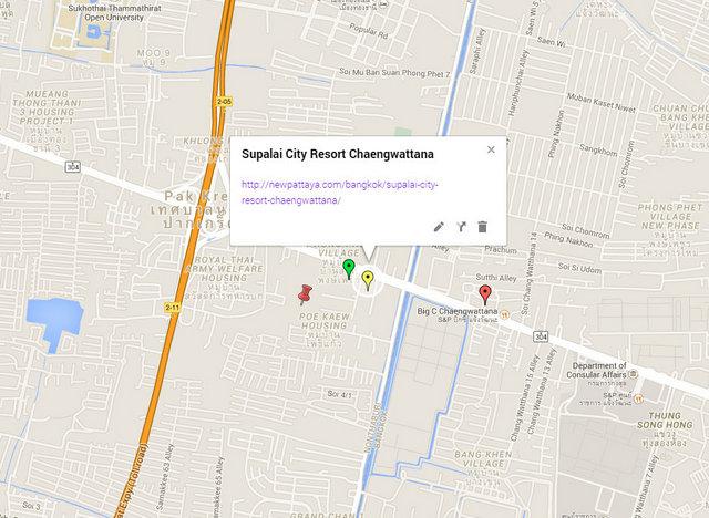 Supalai City Resort Chaengwattana Map