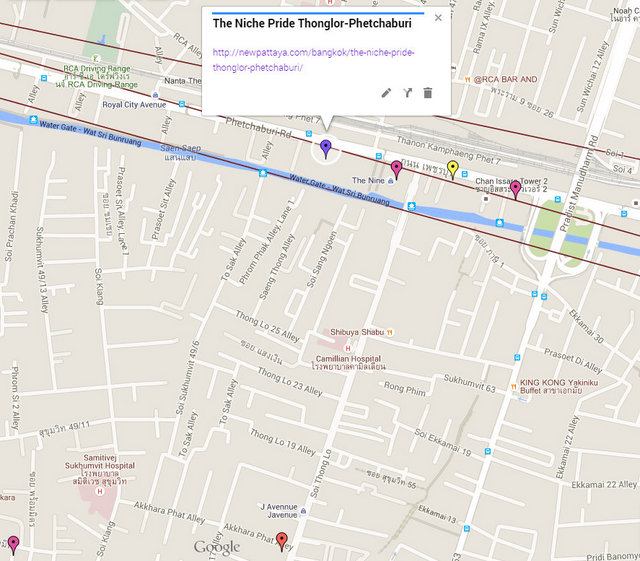 The Niche Pride Thonglor Phetchaburi Map