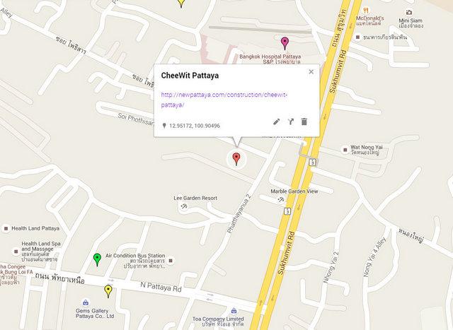 CheeWit Pattaya Map