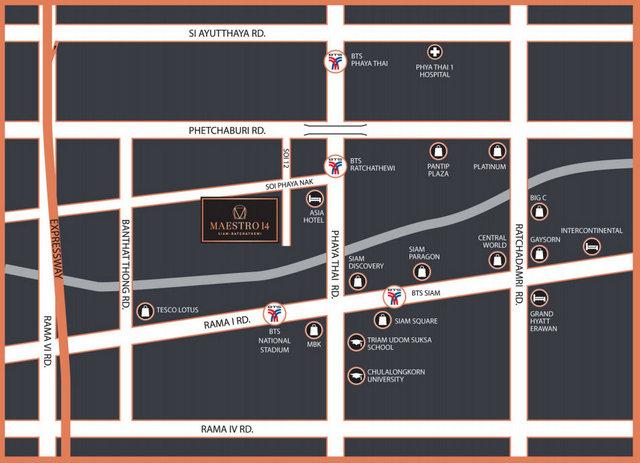 Maestro 14 Siam Ratchathewi Map