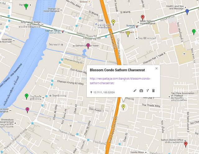 Blossom Condo Sathorn Charoenrat Map