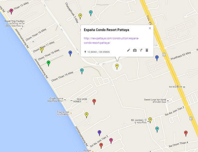 España Condo Resort Pattaya Map
