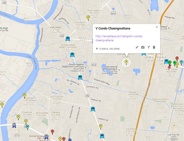 V Condo Chaengwattana Map