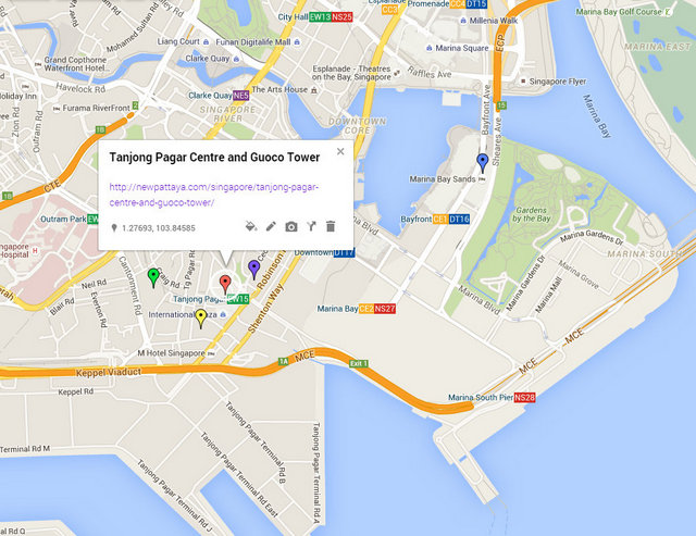 Tanjong Pagar Centre and Guoco Tower Map