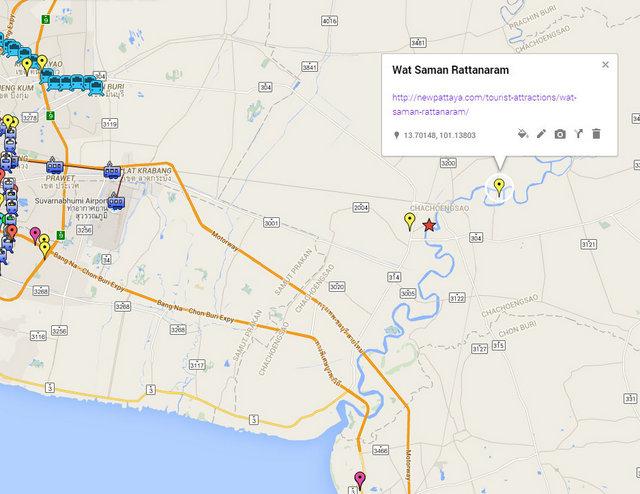 Wat Saman Rattanaram Map
