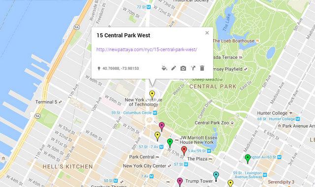 15 Central Park West Map