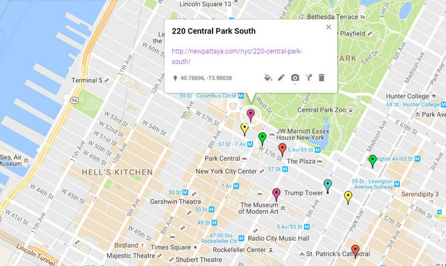 220 Central Park South Map