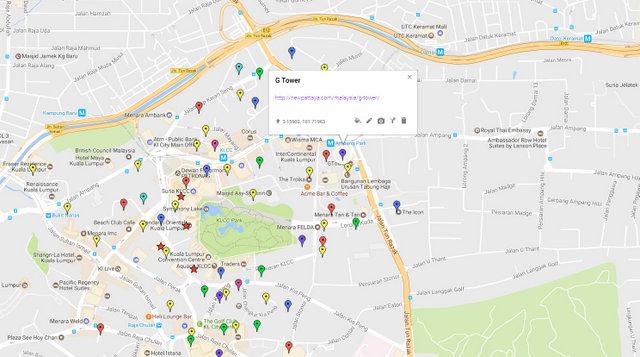G Tower Kuala Lumpur Map