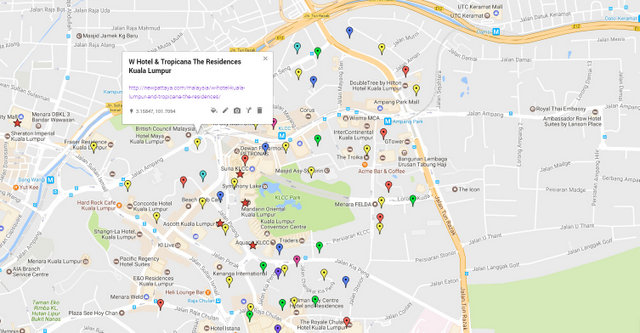 W Hotel Kuala Lumpur and Tropicana The Residences Map